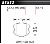 Brake Pad Sets - Street Performance - 2006-11 Corvette D1185 Pads (D1185) - Hawk Performance - Hawk Disc Brake Pads - HPS Performance Street w/ 0.570 Thickness