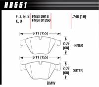 Recently Added Products - Hawk Performance - Hawk Performance HPS Compound Brake Pads High Torque Front Various BMW 2002-14 - Set of 4