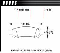 Brake Pad Sets - Truck - 2005-11 Ford Super Duty Truck D1067 Pads (D1067) - Hawk Performance - Hawk Disc Brake Pads - LTS w/ 0.710 Thickness