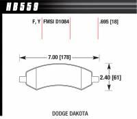 Brake Pad Sets - Truck - 2005-10 Dodge Ram 1500 Truck D1084 Pads (D1084) - Hawk Performance - Hawk Disc Brake Pads - HPS Performance Street w/ 0.695 Thickness