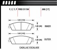 Brake Pad Sets - Truck - 2007-11 GM Truck D1194 Pads (D1194) - Hawk Performance - Hawk Disc Brake Pads - LTS w/ 0.666 Thickness