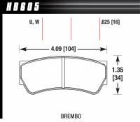 Brake Pad Sets - Street Performance - Brembo F3 Brake Pads - Hawk Performance - Hawk Disc Brake Pads - DTC-30 w/ 0.625 Thickness