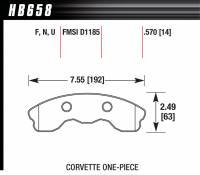 Brake Pad Sets - Street Performance - 2005-11 Corvette Z06 Pads - Hawk Performance - Hawk Disc Brake Pads - Performance Ceramic w/ 0.570 Thickness