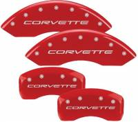 Brake System - MGP Caliper Covers - Mgp Caliper Cover Corvette Logo Brake Caliper Cover Aluminum Red Chevy Corvette 1997-2015 - Set of 4