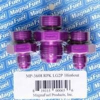Recently Added Products - MagnaFuel - MagnaFuel One 10 AN Male Fittings Regulator Fitting Kit Two 6 AN Male Fittings Aluminum Purple Anodize - Magnafuel 2 Port Regulators
