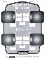 Chassis Set-Up Tools - Setup Sheets & Checklist - QuickCar Racing Products - QuickCar Before Race Tire Set-Up Forms Refill (50 Pack)