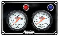 Dash Gauge Panels - 2 Gauge Dash Panels - QuickCar Racing Products - QuickCar 2 Gauge Panel Assembly w/ Warning Lights - OP/WT