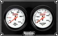 Analog Gauge Panels - 2 Gauge Dash Panels - QuickCar Racing Products - QuickCar Extreme 2 Gauge Dash Panel - WT/OP
