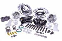 "Front Brake Kits - Drag - Strange Pro Series Steel Front Brake Kits - Strange Engineering - Strange Pro Race Brake System Front 4 Piston Caliper 11-1/4"" Slotted Iron Rotor - Offset Hat"