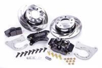 "Rear Brake Kits - Drag - Strange Pro Series Rear Disc Brake Kits - Strange Engineering - Strange Pro Race Brake System Rear 4 Piston Caliper 11-1/4"" Slotted Iron Rotor - Offset Hat - Black"