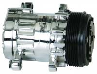 Air Conditioning & Heating - Air Conditioner Compressors - Tuff Stuff Performance - Tuff Stuff SD7 Peanut Compressor R134A Chrome Serpentine
