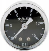 """Gauges - Pressure Gauges - Allstar Performance - Allstar Performance 0-15 PSI 1-1/2"""" Gauge - Glycerin Filled"""