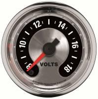 "Gauges - Voltmeters - Auto Meter - Auto Meter 2-1/16"" American Muscle Voltmeter Gauge - 8-18 Volts"