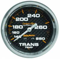 "Transmission Temp Gauges - Mechanical Transmission Temp Gauges - Auto Meter - Auto Meter Carbon Fiber Transmission Temperature Gauge - 2-5/8"" - 140-280 Deg. F"