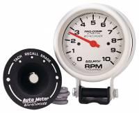 "Memory Tachometers - Pedestal Memory Tachs - Auto Meter - Auto Meter 10,000 RPM Silver Pro-Comp Memory Tachometer - 3-3/4"" w/ Memory"