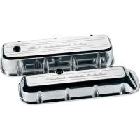 Valve Covers & Accessories - Aluminum Valve Covers - BB Chevy - Billet Specialties - Billet Specialties BB Chevy Valve Covers - Stock Height - Polished - Chevy Logo - BB Chevy - (Set of 2)