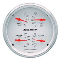 Gauges & Dash Panels - Gauge Kits - Analog - Auto Meter - Auto Meter Arctic White Street Rod Kit - Includes 120 MPH Electric 5 in. Speedometer / 5 in. Quad 100 PSI Oil Press. / 100-250 Degree Water Temp. / 8-18V