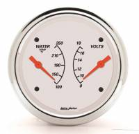 "Water Temp Gauges - Electric Water Temp Gauges - Auto Meter - Auto Meter 3-3/8"" Artic White Water Temp/ Voltmeter Gauge - 100-250 °F/8-18V"
