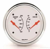 "Gauges - Voltmeters - Auto Meter - Auto Meter 3-3/8"" Artic White Water Temp/ Voltmeter Gauge - 100-250 °F/8-18V"