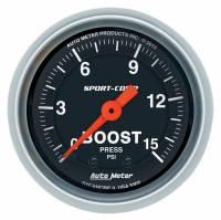 """Gauges - Pressure Gauges - Auto Meter - Auto Meter 2-1/16"""" Sport Comp Boost Gauge - 0-15 PSI"""