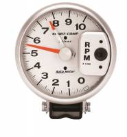 "Analog Gauges - Tachometers - Auto Meter - Auto Meter 10,000 RPM Silver 5"" Monster Tachometer w/ Red Line Pointer"