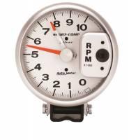"Standard Tachometers - Pedestal Standard Tachs - Auto Meter - Auto Meter 10,000 RPM Silver 5"" Monster Tachometer w/ Red Line Pointer"
