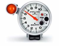 "Standard Tachometers - Pedestal Standard Tachs - Auto Meter - Auto Meter 10,000 RPM Shift Light Silver 5"" Monster Tachometer w/ Dial-In-Exactness"