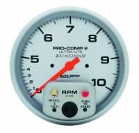 "Memory Tachometers - In-Dash Memory Tachs - Auto Meter - Auto Meter 10,000 RPM Ultra-Lite 5"" In-Dash Dual Range Tachometer w/ Peak RPM Memory and Expanded RPM Racing Range"