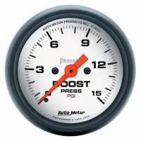 """Gauges - Pressure Gauges - Auto Meter - Auto Meter 2-1/16"""" Phantom Boost Gauge - 0-15 PSI"""