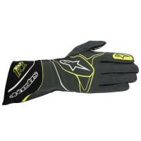 Racing Gloves - Kart Racing Gloves - Alpinestars - Alpinestars Tech 1-KX Karting Glove - Anthracite/Black/Yellow Fluo