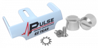 Tear-Offs - Tear-Off Buttons - Pulse Racing Innovations - Pulse EZ Tear White w/ Silver Tear Off Posts