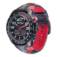 Crew Apparel - Watches - Alpinestars - Alpinestars Tech Chrono - Black Leather - Black/Red