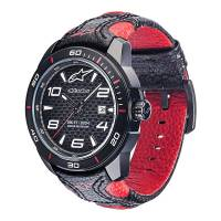 Crew Apparel - Watches - Alpinestars - Alpinestars Tech Watch 3H - Black Leather - Black/Red