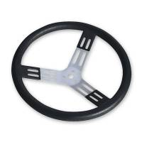 "Competition Steering Wheels - Aluminum - 17"" Aluminum Steering Wheels - Longacre Racing Products - Longacre 17"" Aluminum - Black w/ Natural Spokes and Bump Grip"