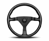 Street Performance / Tuner Steering Wheels - Momo Steering Wheels - Momo - Momo Montecarlo Alcantara Steering Wheel - 320mm - Black Leather / Black Stitching