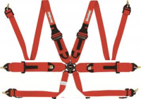 Safety Equipment - Seat Belts & Harnesses - RaceQuip - RaceQuip Camlock 6-Point Harness - HANS Ready - FIA 8853-2016 - Pull-Up Lap Belt - Red