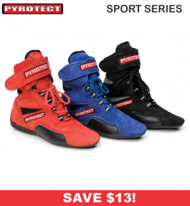 HOLIDAY SAVINGS DEALS! - Racing Shoe Deals - Pyrotect Sport Series - SALE $75.87 - SAVE $13