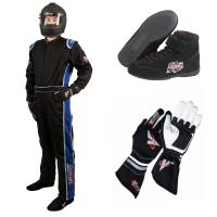 Racing Suits - Race Suit Packages - Velocity Race Gear - Velocity 5 Race Suit Package - Black/Blue