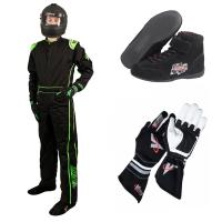 Racing Suits - Race Suit Packages - Velocity Race Gear - Velocity 5 Race Suit Package - Black/Fluo Green