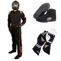 Racing Suits - Race Suit Packages - Velocity Race Gear - Velocity 5 Race Suit Package - Black/Fluo Orange