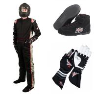 Racing Suits - Race Suit Packages - Velocity Race Gear - Velocity 5 Race Suit Package - Black/Silver