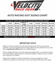 Velocity Race Gear 2016 Suit Sizing Chart