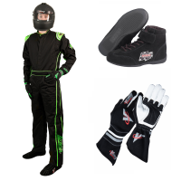 Velocity Race Gear - Velocity 1 Sport Suit Package - Black/Fluo Green