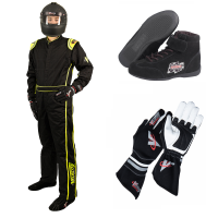 Safety Equipment - Velocity Race Gear - Velocity 1 Sport Suit Package - Black/Fluo Yellow