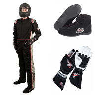 Velocity Race Gear - Velocity 1 Sport Suit Package - Black/Silver