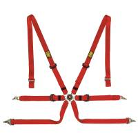 OMP Racing - OMP Camlock Safety Harness - Polyester - 6 Point - Pull Down Lap - Red