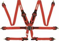 """Cam Lock Restraint Systems - 6 Point Camlock Restraints - RaceQuip - RaceQuip Camlock 6-Point HANS/HNR Harness - 2"""" Lap/Shoulder - Pull Down Lap - Red - FIA 8853-2016"""