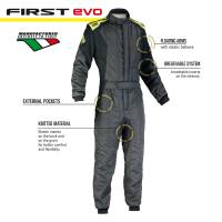 OMP Racing - OMP First Evo Suit - Anthracite/Yellow - 54 - Image 3