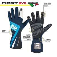 OMP Racing - OMP First Evo Gloves - Blue/Cyan  - Small - Image 2