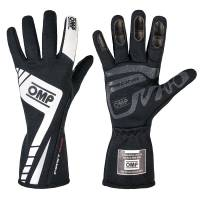 Safety Equipment - OMP Racing - OMP First Evo Gloves - Black/White  - Medium